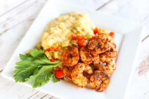 Blackened Shrimp & Cheesey Mash